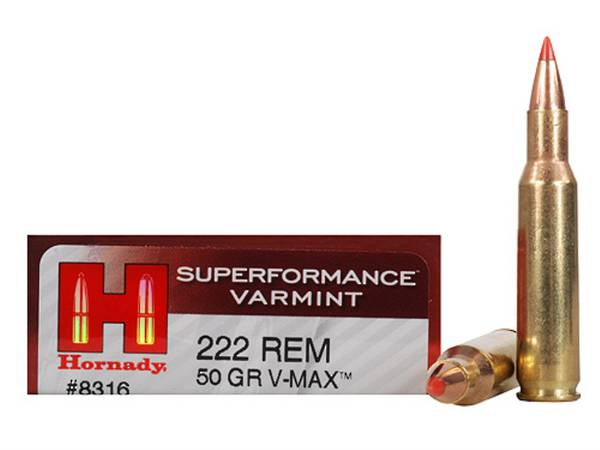 Hornady Superformance 222 Rem 50gr V-Max x20 #8316