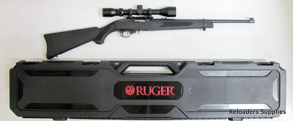 Ruger 10/22 Blued Synthetic Hard Case And Weaver Scope Package