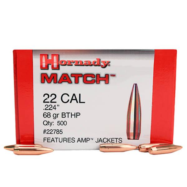Hornady 22cal 68gr BTHP Match projectiles, 500's