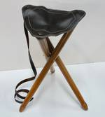 Leather/Wood Black Stool