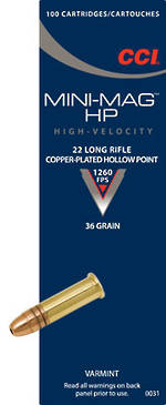 CCI Mini Mag 22LR 36gr HP 500 Rounds
